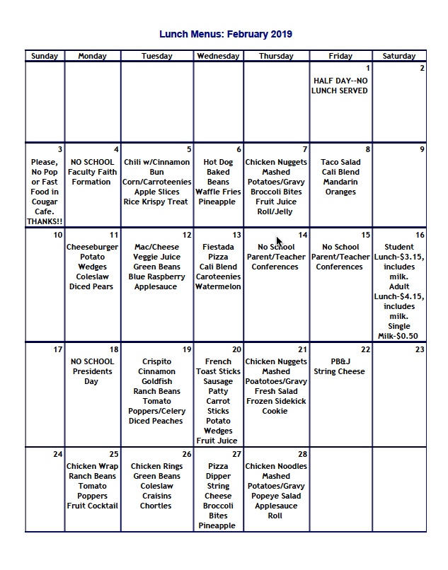 Lunch Menu February